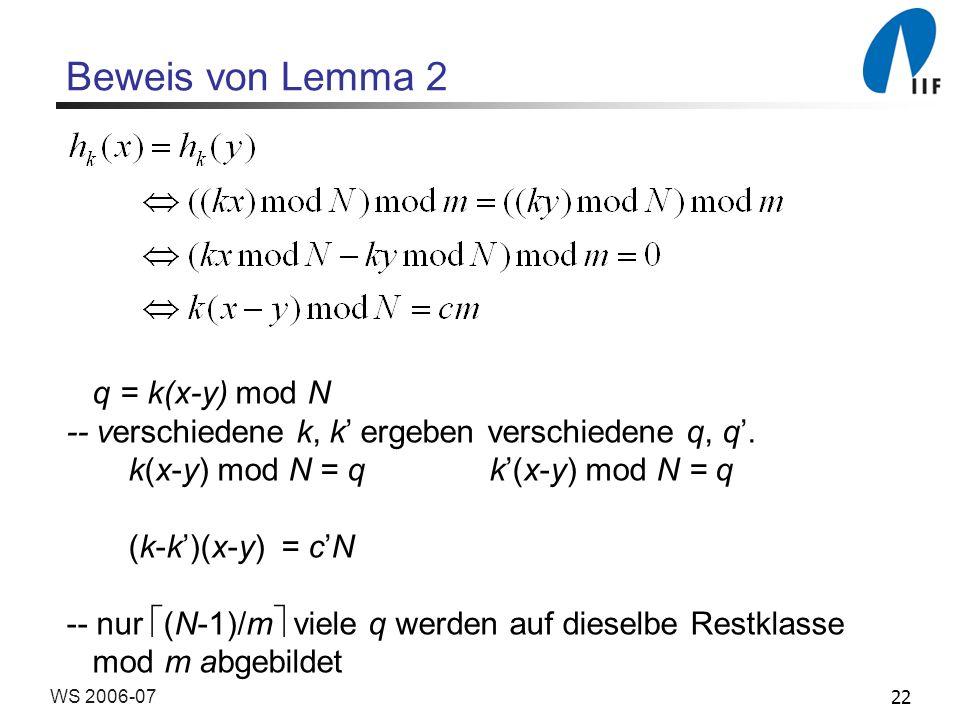 22WS 2006-07 Beweis von Lemma 2 q = k(x-y) mod N -- verschiedene k, k ergeben verschiedene q, q.