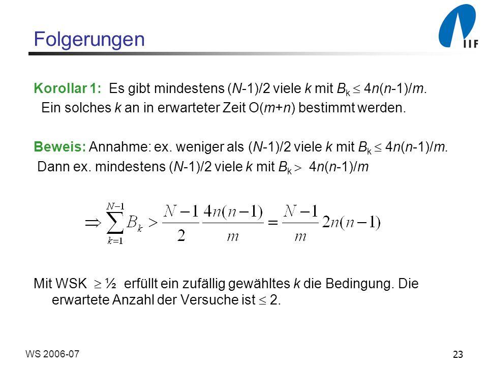 23WS 2006-07 Folgerungen Korollar 1: Es gibt mindestens (N-1)/2 viele k mit B k 4n(n-1)/m.