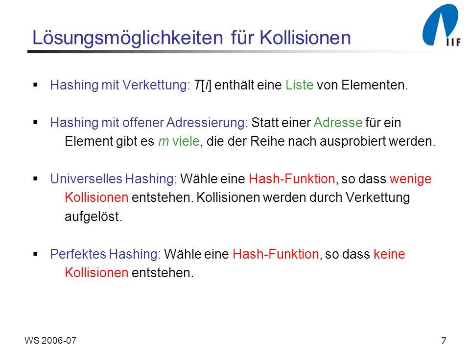 7WS 2006-07 Lösungsmöglichkeiten für Kollisionen Hashing mit Verkettung: T[i] enthält eine Liste von Elementen.