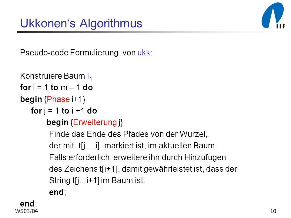 10WS03/04 Ukkonens Algorithmus Pseudo-code Formulierung von ukk: Konstruiere Baum I 1 for i = 1 to m – 1 do begin {Phase i+1} for j = 1 to i +1 do beg