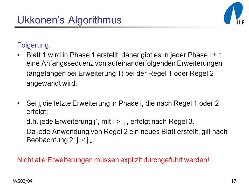 17WS03/04 Ukkonens Algorithmus Folgerung: Blatt 1 wird in Phase 1 erstellt, daher gibt es in jeder Phase i + 1 eine Anfangssequenz von aufeinanderfolg