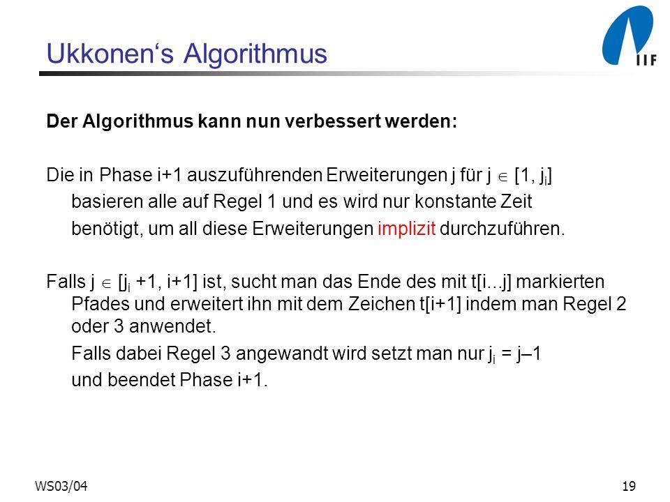 19WS03/04 Ukkonens Algorithmus Der Algorithmus kann nun verbessert werden: Die in Phase i+1 auszuführenden Erweiterungen j für j [1, j i ] basieren al