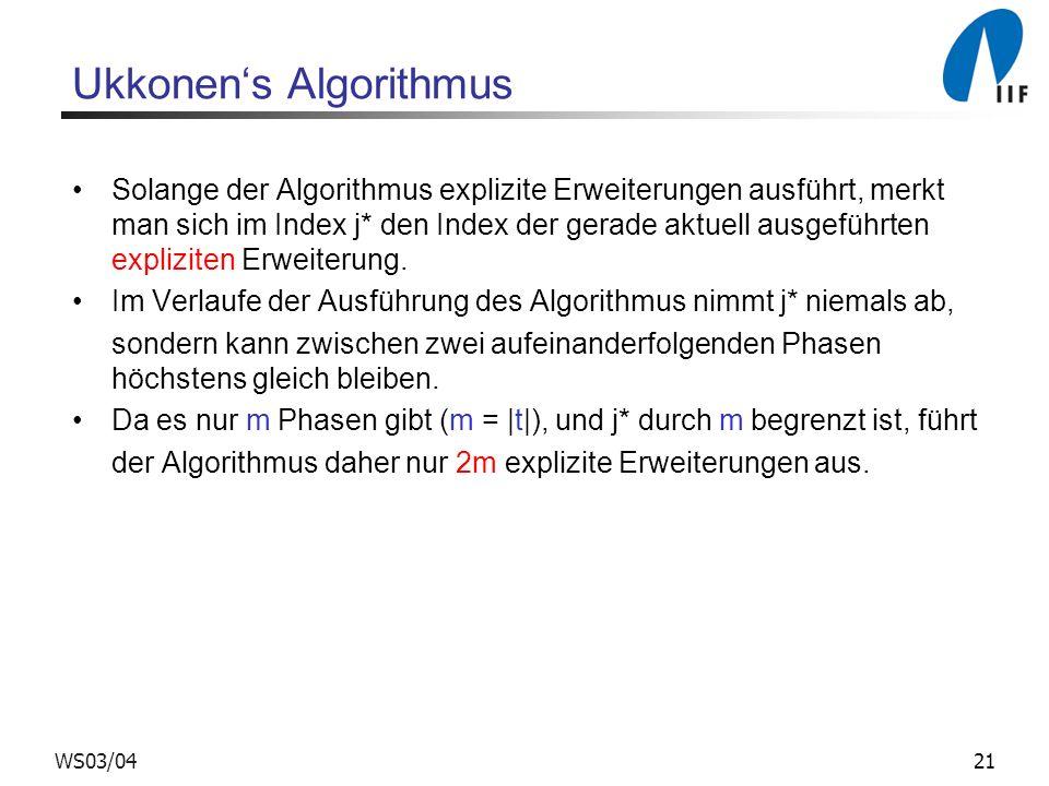 21WS03/04 Ukkonens Algorithmus Solange der Algorithmus explizite Erweiterungen ausführt, merkt man sich im Index j* den Index der gerade aktuell ausge