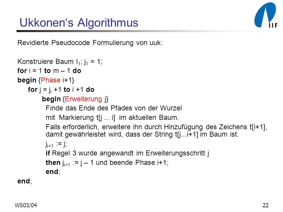 22WS03/04 Ukkonens Algorithmus Revidierte Pseudocode Formulierung von uuk: Konstruiere Baum I 1 ; j 1 = 1; for i = 1 to m – 1 do begin {Phase i+1} for
