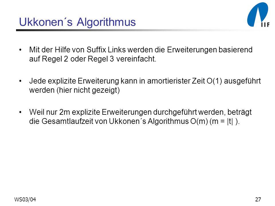 27WS03/04 Ukkonen´s Algorithmus Mit der Hilfe von Suffix Links werden die Erweiterungen basierend auf Regel 2 oder Regel 3 vereinfacht. Jede explizite