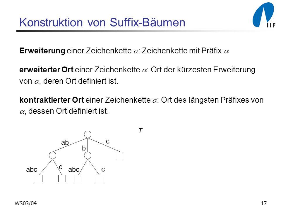 17WS03/04 Konstruktion von Suffix-Bäumen Erweiterung einer Zeichenkette : Zeichenkette mit Präfix erweiterter Ort einer Zeichenkette : Ort der kürzesten Erweiterung von, deren Ort definiert ist.