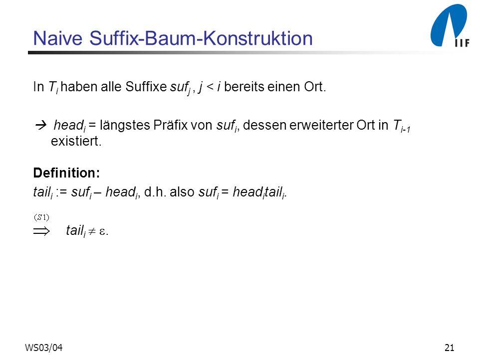 21WS03/04 Naive Suffix-Baum-Konstruktion In T i haben alle Suffixe suf j, j < i bereits einen Ort.