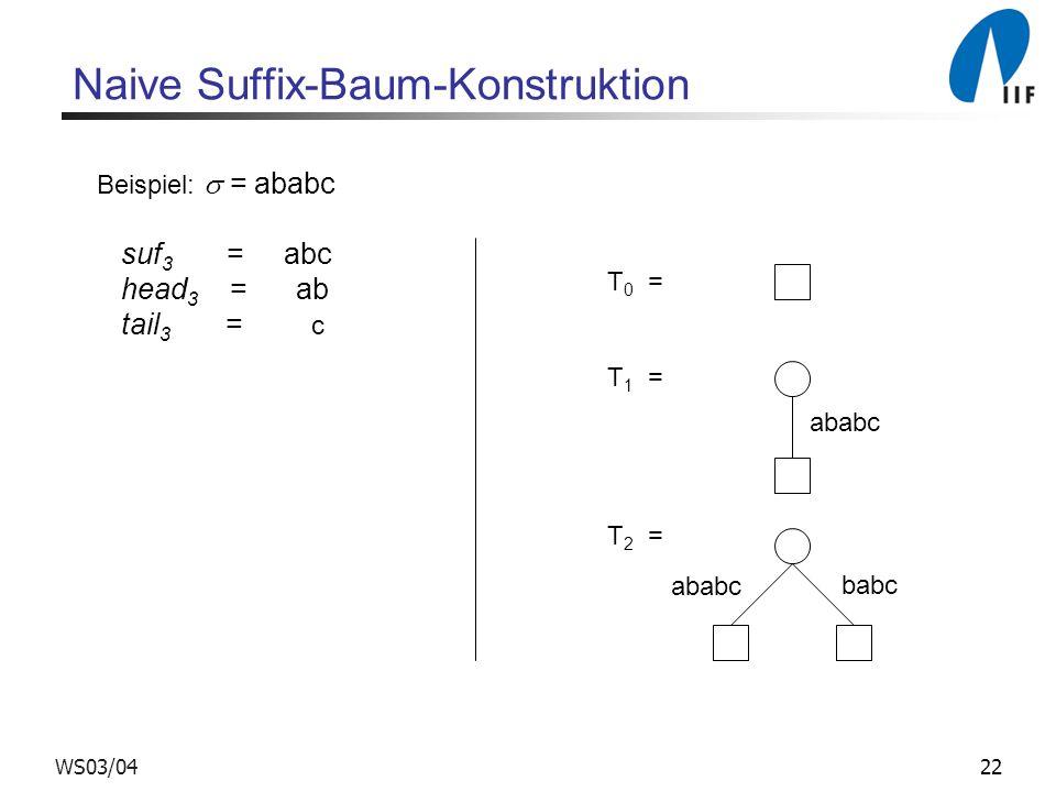 22WS03/04 Naive Suffix-Baum-Konstruktion Beispiel: = ababc suf 3 = abc head 3 = ab tail 3 = c T 0 = T 1 = T 2 = ababc babc