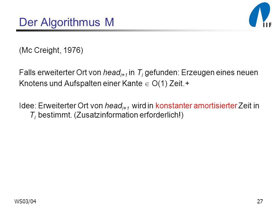 27WS03/04 Der Algorithmus M (Mc Creight, 1976) Falls erweiterter Ort von head i+1 in T i gefunden: Erzeugen eines neuen Knotens und Aufspalten einer Kante O(1) Zeit.+ Idee: Erweiterter Ort von head i+1 wird in konstanter amortisierter Zeit in T i bestimmt.