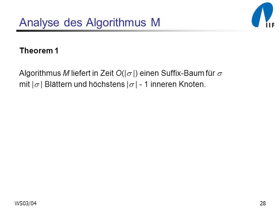 28WS03/04 Analyse des Algorithmus M Theorem 1 Algorithmus M liefert in Zeit O(| |) einen Suffix-Baum für mit | | Blättern und höchstens | | - 1 inneren Knoten.