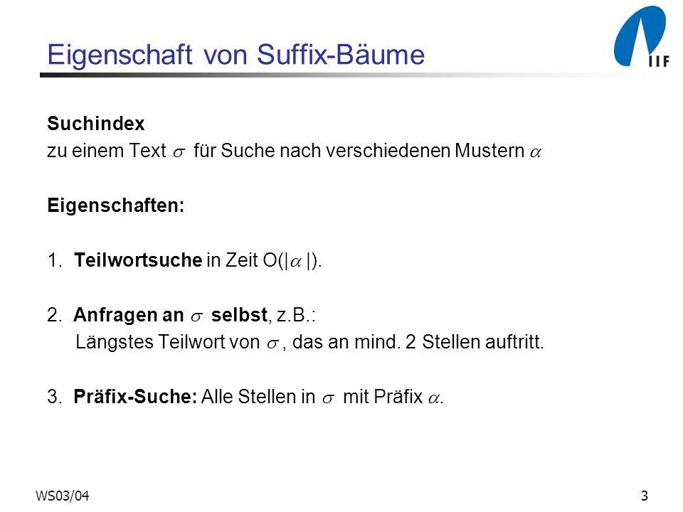 3WS03/04 Eigenschaft von Suffix-Bäume Suchindex zu einem Text für Suche nach verschiedenen Mustern Eigenschaften: 1.