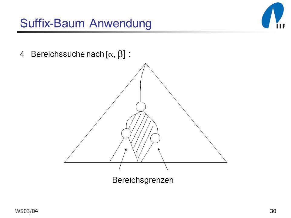 30WS03/04 Suffix-Baum Anwendung 4Bereichssuche nach [, ] : Bereichsgrenzen