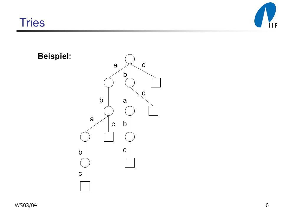 6WS03/04 Tries a a a c b b c b b c c c Beispiel: