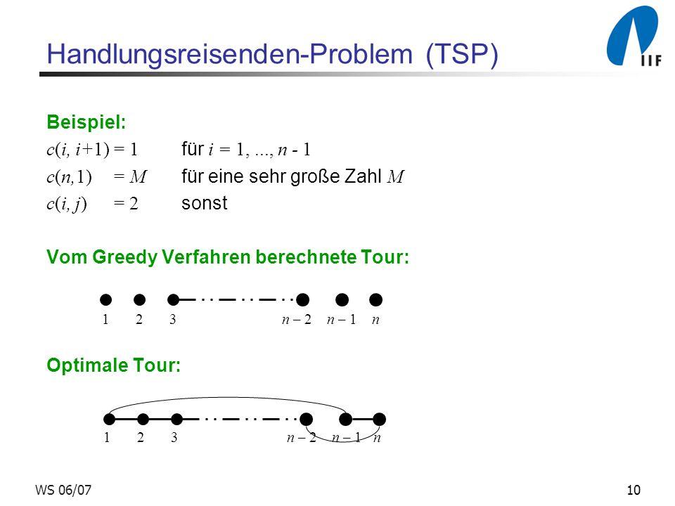 10WS 06/07 Handlungsreisenden-Problem (TSP) Beispiel: c(i, i+1)= 1 für i = 1,..., n - 1 c(n,1)= M für eine sehr große Zahl M c(i, j) = 2 sonst Vom Greedy Verfahren berechnete Tour: Optimale Tour: 1 2 3 n – 2 n – 1 n