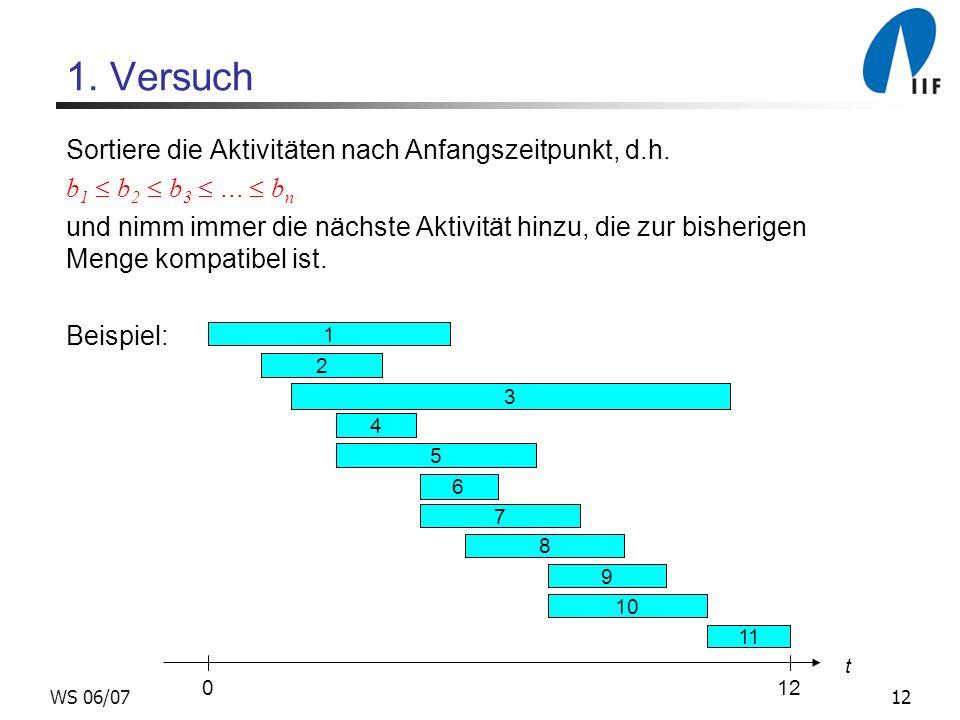 12WS 06/07 1.Versuch Sortiere die Aktivitäten nach Anfangszeitpunkt, d.h.