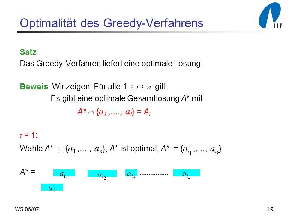19WS 06/07 Optimalität des Greedy-Verfahrens Satz Das Greedy-Verfahren liefert eine optimale Lösung.