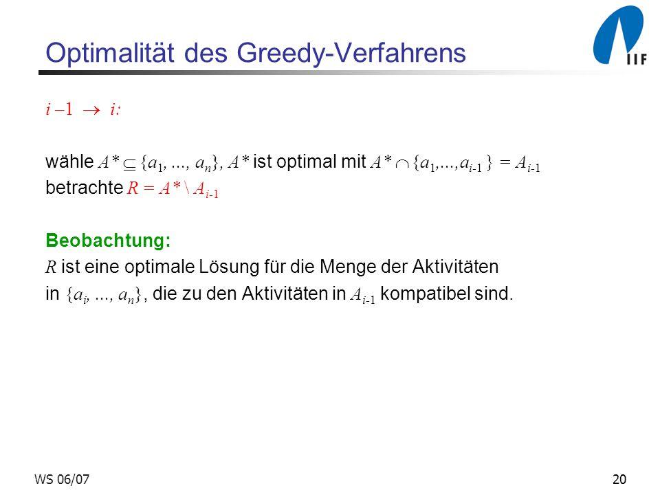 20WS 06/07 Optimalität des Greedy-Verfahrens i –1 i: wähle A* {a 1,..., a n }, A* ist optimal mit A* {a 1,...,a i-1 } = A i-1 betrachte R = A* \ A i-1 Beobachtung: R ist eine optimale Lösung für die Menge der Aktivitäten in {a i,..., a n }, die zu den Aktivitäten in A i-1 kompatibel sind.