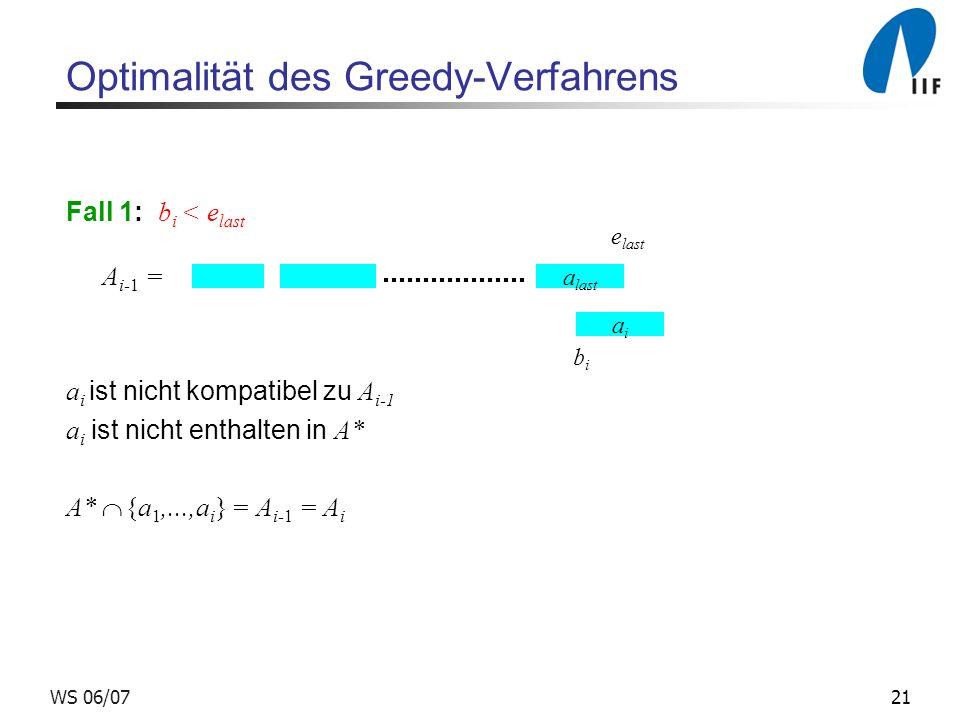 21WS 06/07 Optimalität des Greedy-Verfahrens Fall 1: b i < e last A i-1 = a i ist nicht kompatibel zu A i-1 a i ist nicht enthalten in A* A* {a 1,...,a i } = A i-1 = A i a last e last aiai bibi