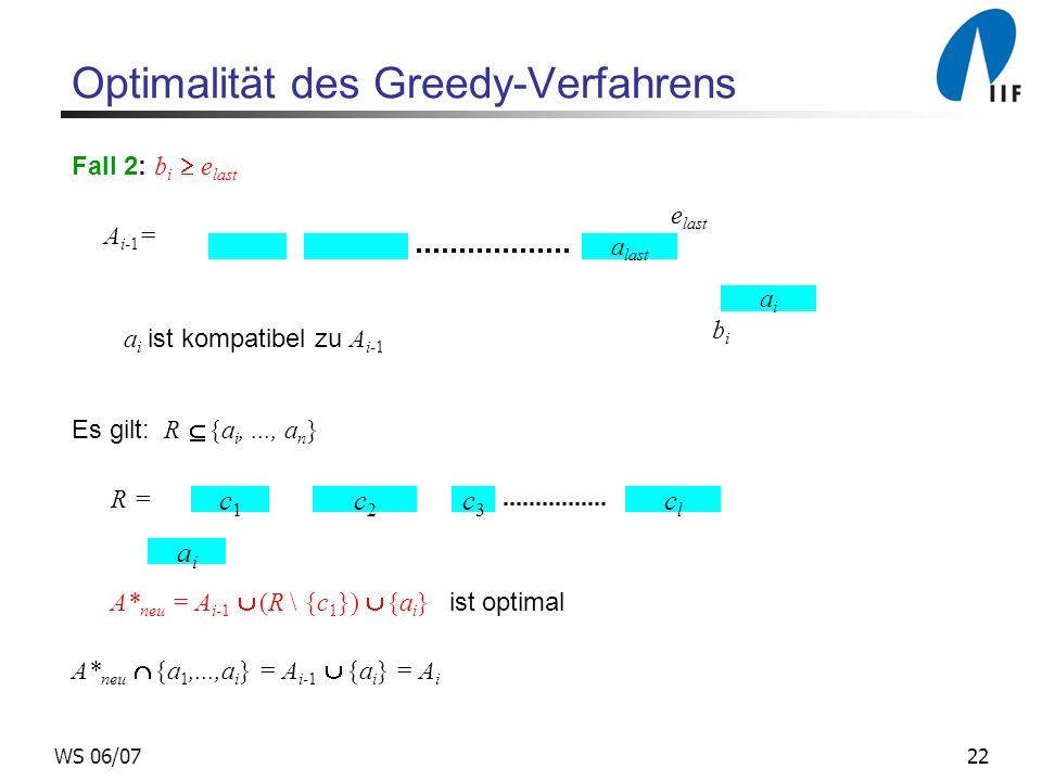 22WS 06/07 Optimalität des Greedy-Verfahrens Fall 2: b i e last A i-1 = a i ist kompatibel zu A i-1 Es gilt: R {a i,..., a n } R = A* neu = A i-1 (R \ {c 1 }) {a i } ist optimal A* neu {a 1,...,a i } = A i-1 {a i } = A i a last e last aiai bibi c1c1 c2c2 c3c3 clcl aiai