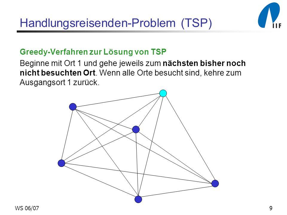 9WS 06/07 Handlungsreisenden-Problem (TSP) Greedy-Verfahren zur Lösung von TSP Beginne mit Ort 1 und gehe jeweils zum nächsten bisher noch nicht besuchten Ort.