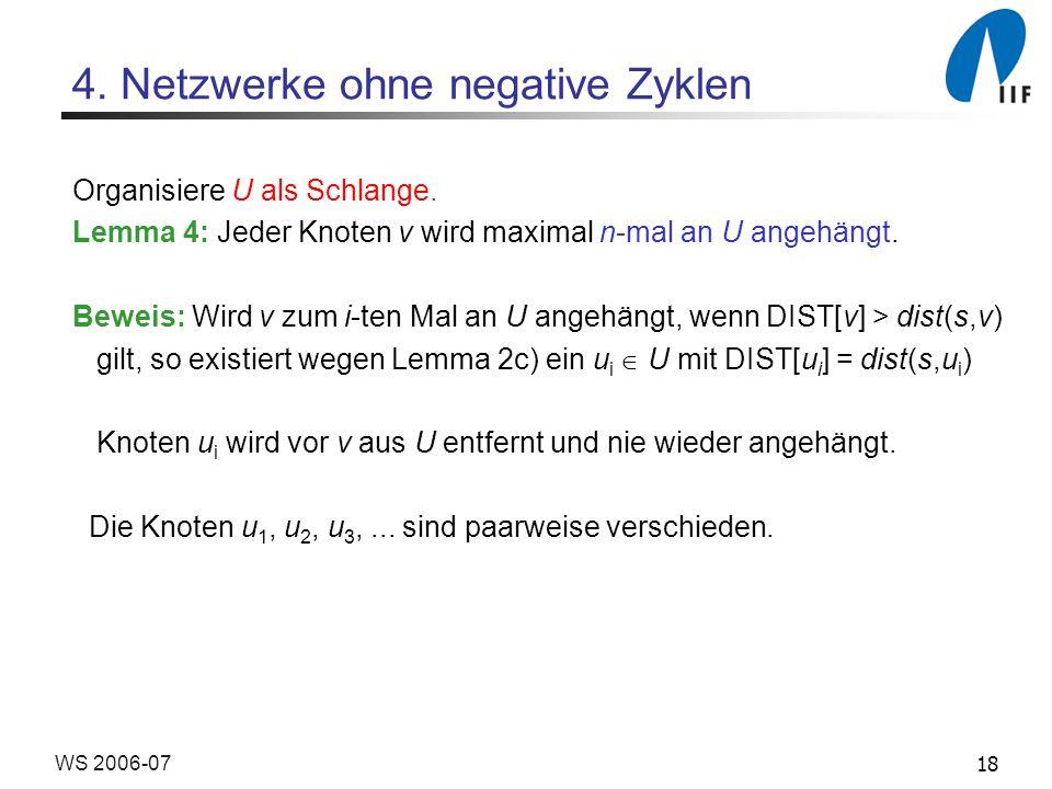 18WS 2006-07 4. Netzwerke ohne negative Zyklen Organisiere U als Schlange.