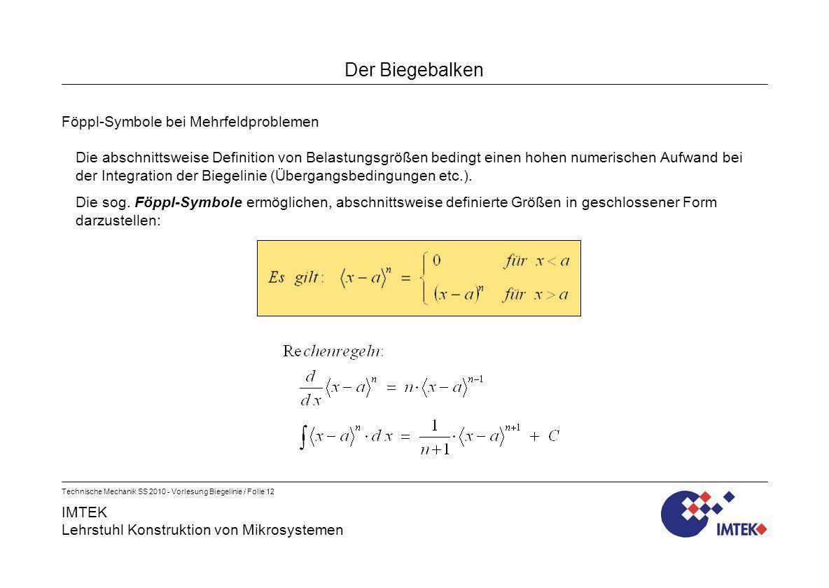 IMTEK Lehrstuhl Konstruktion von Mikrosystemen Technische Mechanik SS 2010 - Vorlesung Biegelinie / Folie 12 Der Biegebalken Föppl-Symbole bei Mehrfel