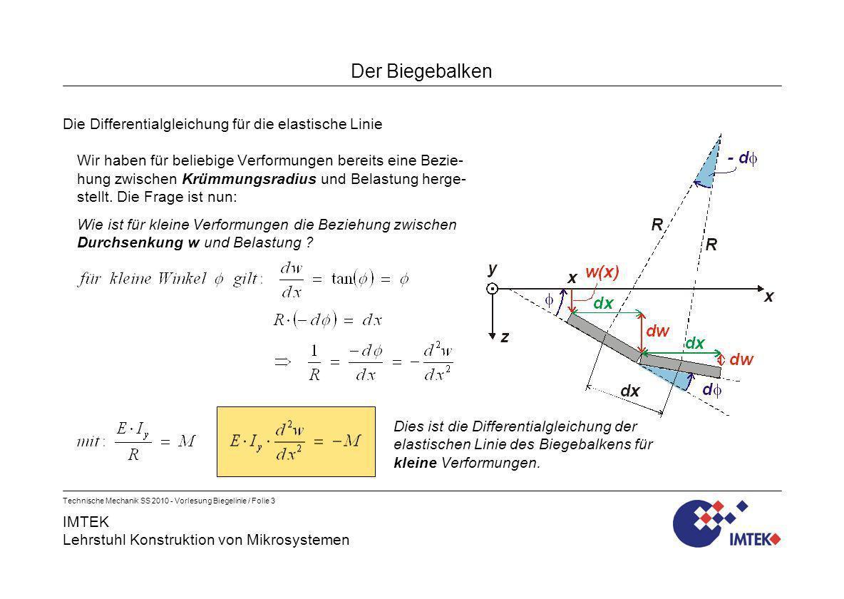 IMTEK Lehrstuhl Konstruktion von Mikrosystemen Technische Mechanik SS 2010 - Vorlesung Biegelinie / Folie 4 Der Biegebalken Weitere Differentialgleichungen der Biegelinie Mit Hilfe der bekannten Zusammenhänge zwischen Moment, Querkraft und Linienlast lassen sich wei- tere Differentialgleichungen für die Biegelinie ableiten: Anmerkungen: Die letztgenannte Gleichung enthält keine Schnittgrößen, sondern nur die Flächenlast q(x).
