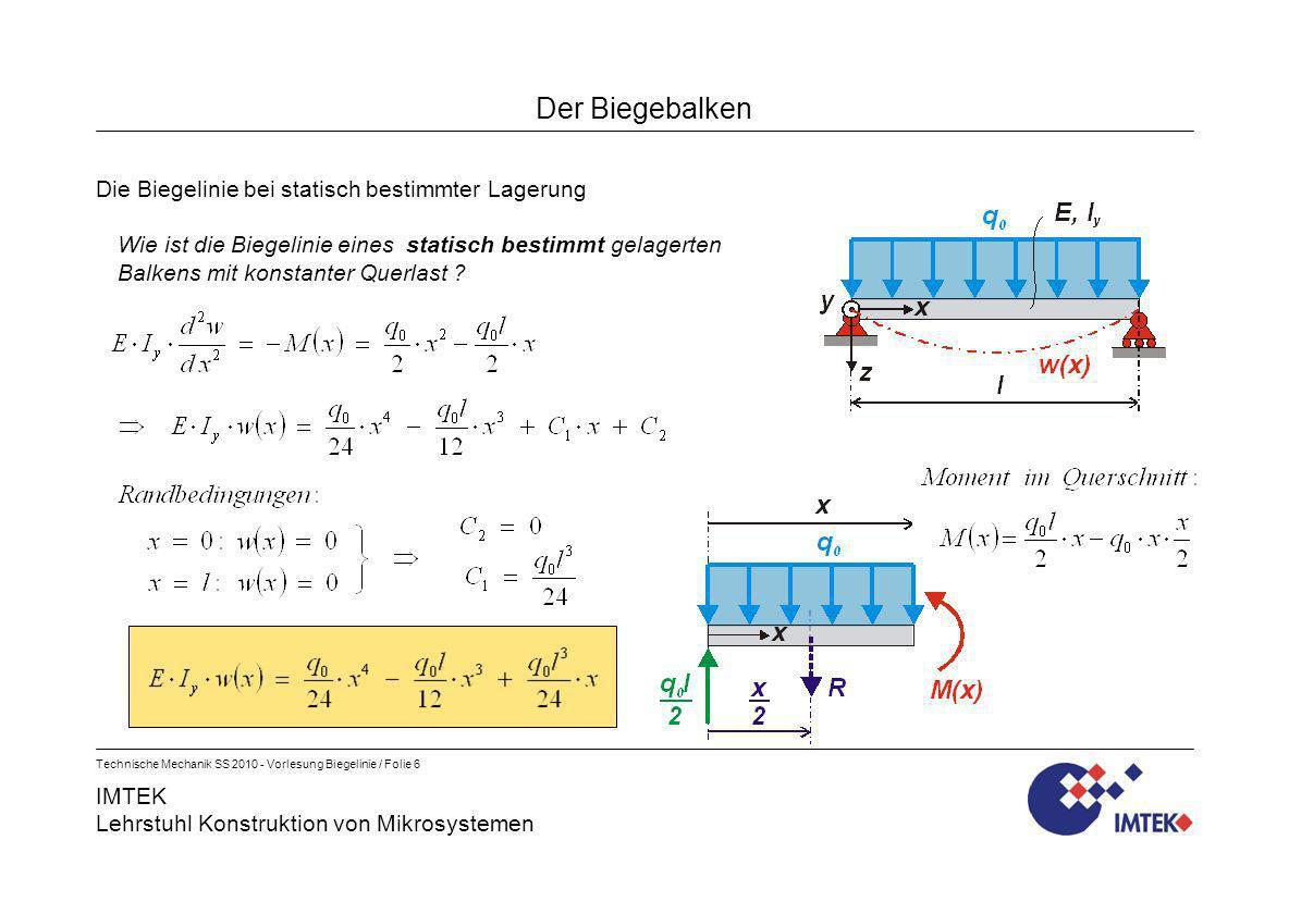 IMTEK Lehrstuhl Konstruktion von Mikrosystemen Technische Mechanik SS 2010 - Vorlesung Biegelinie / Folie 17 Der Biegebalken Ein Beispiel für die Anwendung des Superpositionsprinzips Die Berechnung der Biegelinien ergibt für...