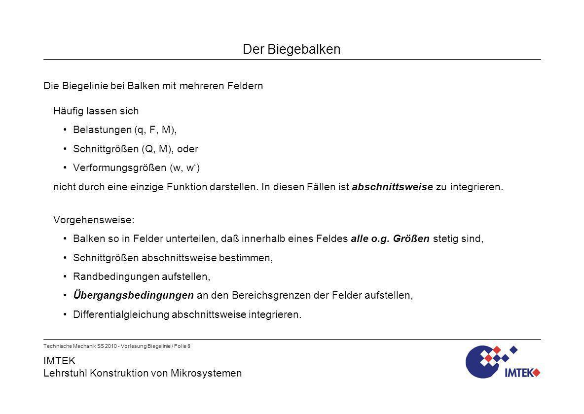 IMTEK Lehrstuhl Konstruktion von Mikrosystemen Technische Mechanik SS 2010 - Vorlesung Biegelinie / Folie 8 Der Biegebalken Die Biegelinie bei Balken