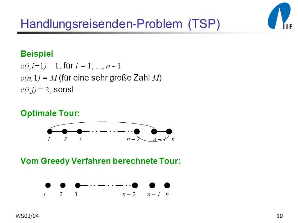 10WS03/04 Handlungsreisenden-Problem (TSP) Beispiel c(i,i+1) = 1, für i = 1,..., n - 1 c(n,1) = M (für eine sehr große Zahl M ) c(i,j) = 2, sonst Opti