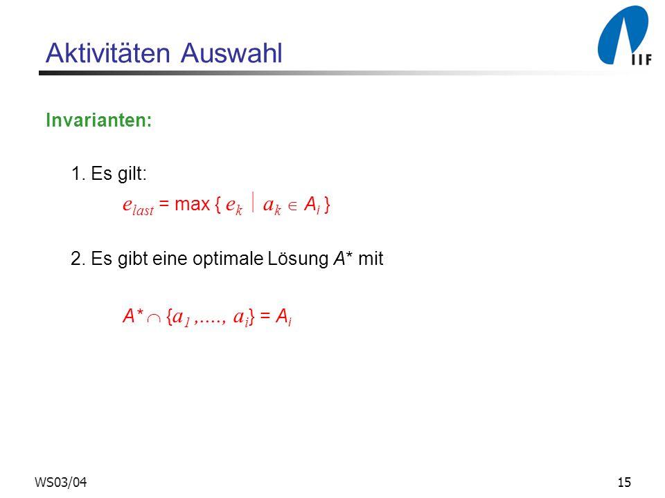 15WS03/04 Aktivitäten Auswahl Invarianten: 1. Es gilt: e last = max { e k a k A i } 2. Es gibt eine optimale Lösung A* mit A* { a 1,...., a i } = A i