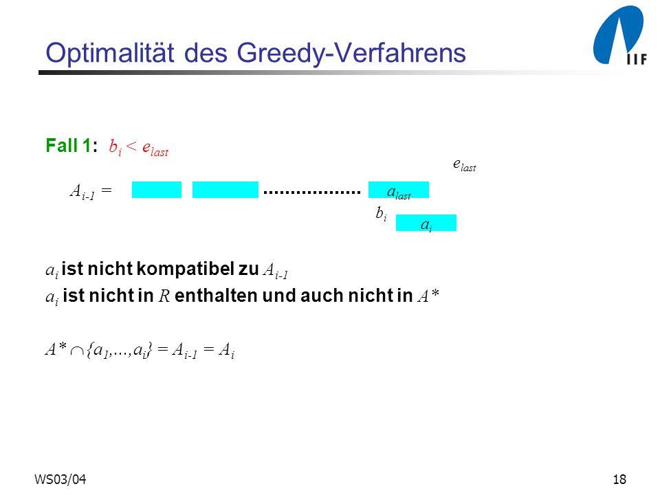18WS03/04 Optimalität des Greedy-Verfahrens Fall 1: b i < e last A i-1 = a i ist nicht kompatibel zu A i-1 a i ist nicht in R enthalten und auch nicht