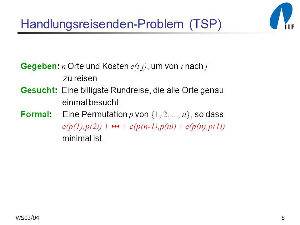 9WS03/04 Handlungsreisenden-Problem (TSP) Greedy Verfahren zur Lösung von TSP Beginne mit Ort 1 und gehe jeweils zum nächsten bisher noch nicht besuchten Ort.