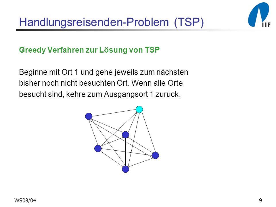 10WS03/04 Handlungsreisenden-Problem (TSP) Beispiel c(i,i+1) = 1, für i = 1,..., n - 1 c(n,1) = M (für eine sehr große Zahl M ) c(i,j) = 2, sonst Optimale Tour: Vom Greedy Verfahren berechnete Tour: 1 2 3 n – 2 n – 1 n