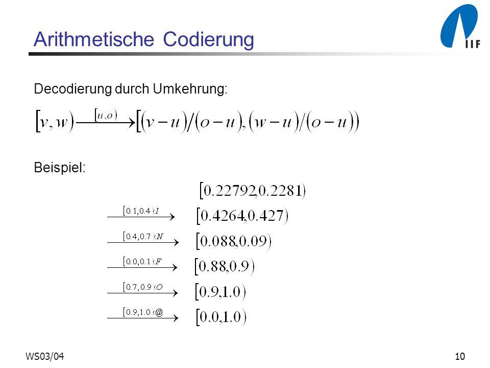 10WS03/04 Arithmetische Codierung Decodierung durch Umkehrung: Beispiel: