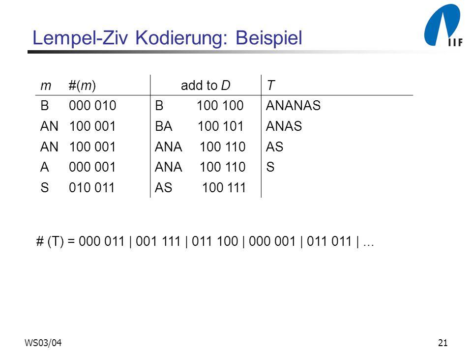 21WS03/04 Lempel-Ziv Kodierung: Beispiel m#(m) add to D T B000 010B 100 100ANANAS AN100 001BA 100 101ANAS AN100 001ANA 100 110AS A000 001ANA 100 110S S010 011AS 100 111 # (T) = 000 011 | 001 111 | 011 100 | 000 001 | 011 011 |...