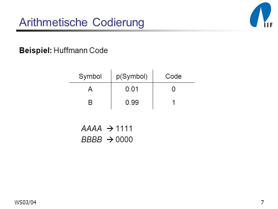 7WS03/04 Arithmetische Codierung Beispiel: Huffmann Code AAAA 1111 BBBB 0000 Symbolp(Symbol)Code A0.010 B0.991