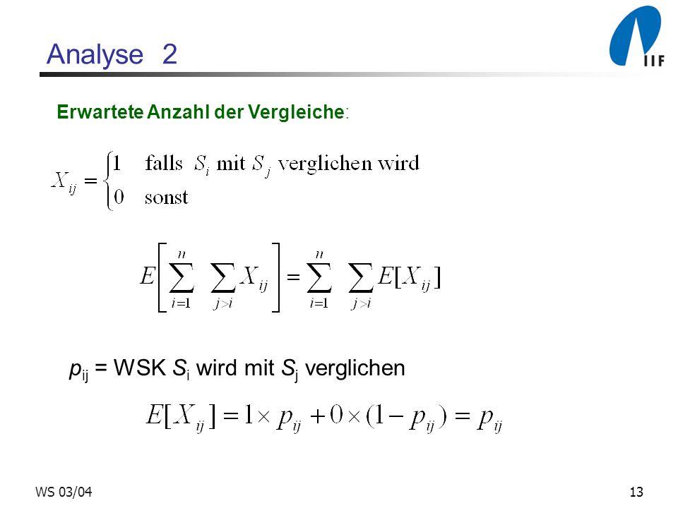 13WS 03/04 Analyse 2 Erwartete Anzahl der Vergleiche: p ij = WSK S i wird mit S j verglichen