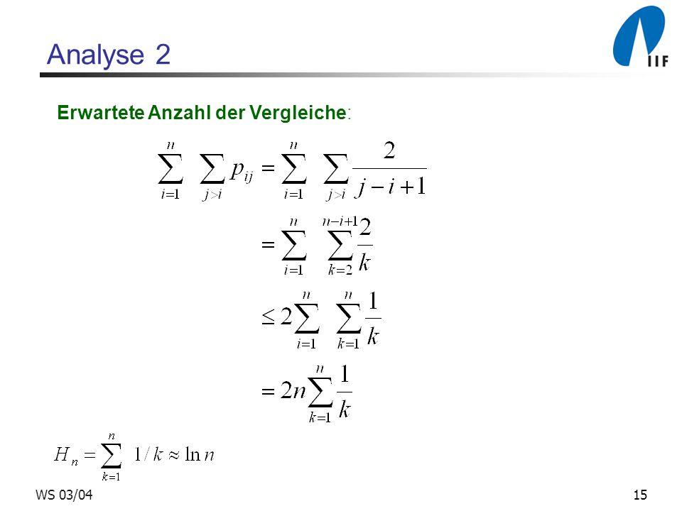 15WS 03/04 Analyse 2 Erwartete Anzahl der Vergleiche: