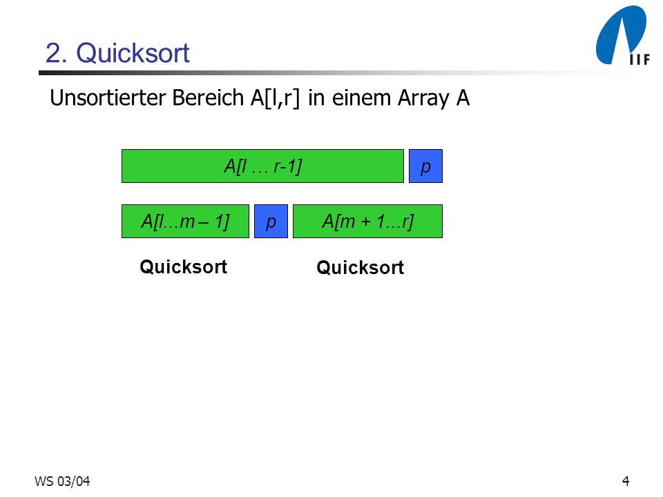 5WS 03/04 Quicksort Algorithmus: Quicksort Input: unsortierter Bereich [l, r] in Array A Output: sortierter Bereich [l, r] in Array A 1if r > l 2 then wähle Pivotelement p = A[r] 3 m = divide(A, l, r) /* Teile A bzgl.