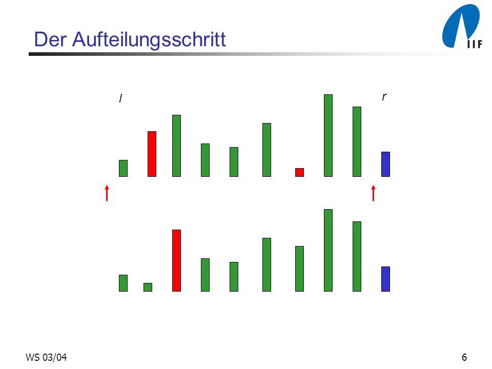 27WS 03/04 Schnelle Exponentiation /* prüfe ob x 2 mod n = 1 und x 1, n-1 */ if (result == 1 && x != 1 && x != n –1 ) isProbablyPrime = false; if (p % 2 == 1) result = (a * result) % n; return result; } Laufzeit: O(log 2 n log p)