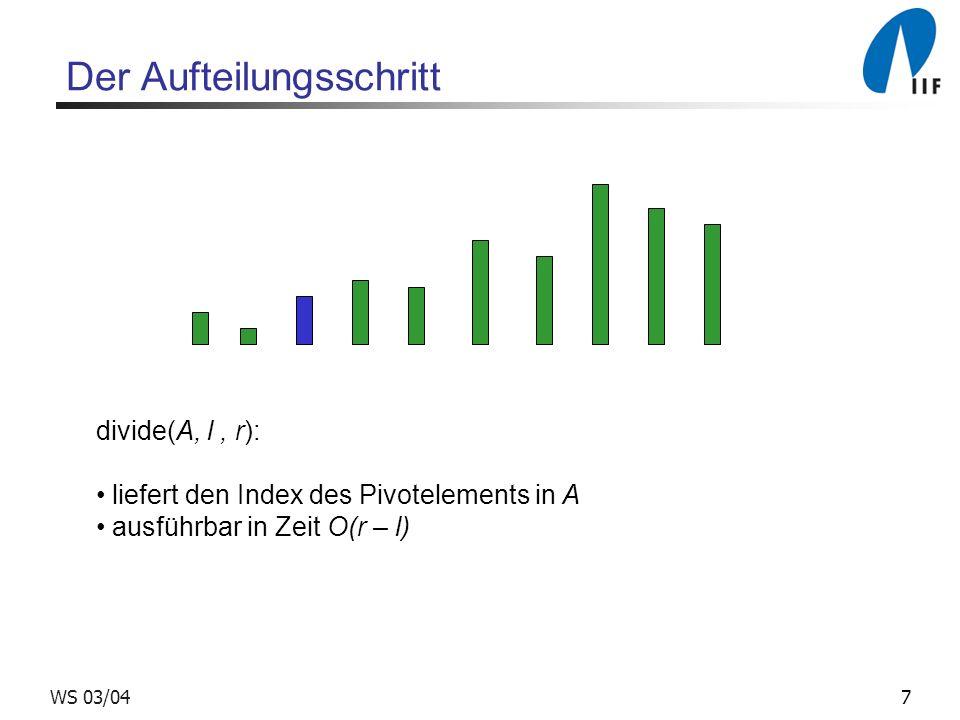 7WS 03/04 Der Aufteilungsschritt divide(A, l, r): liefert den Index des Pivotelements in A ausführbar in Zeit O(r – l)