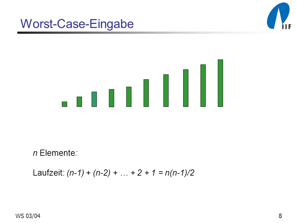 29WS 03/04 Randomisierter Primzahltest 2 Satz: Ist n nicht prim, so gibt es höchstens Zahlen 0 < a < n, für die Algorithmus primeTest versagt.