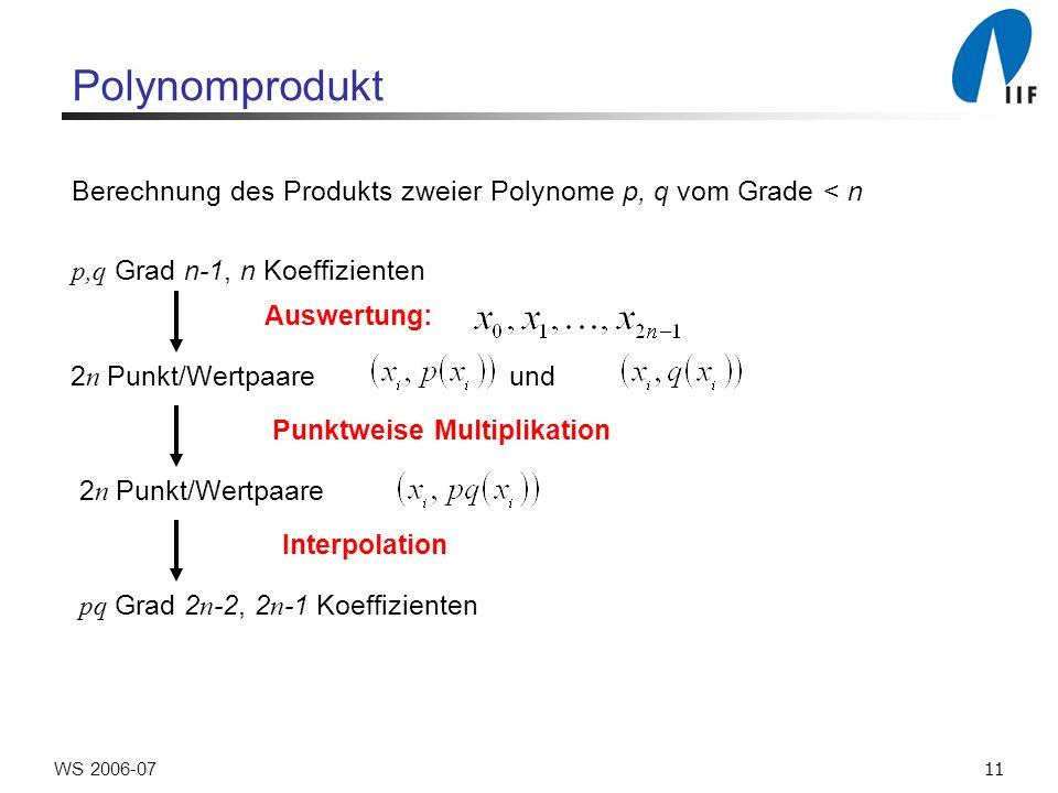 11WS 2006-07 Polynomprodukt Berechnung des Produkts zweier Polynome p, q vom Grade < n p,q Grad n-1, n Koeffizienten Auswertung: 2 n Punkt/Wertpaare und Punktweise Multiplikation 2 n Punkt/Wertpaare Interpolation pq Grad 2 n -2, 2 n -1 Koeffizienten