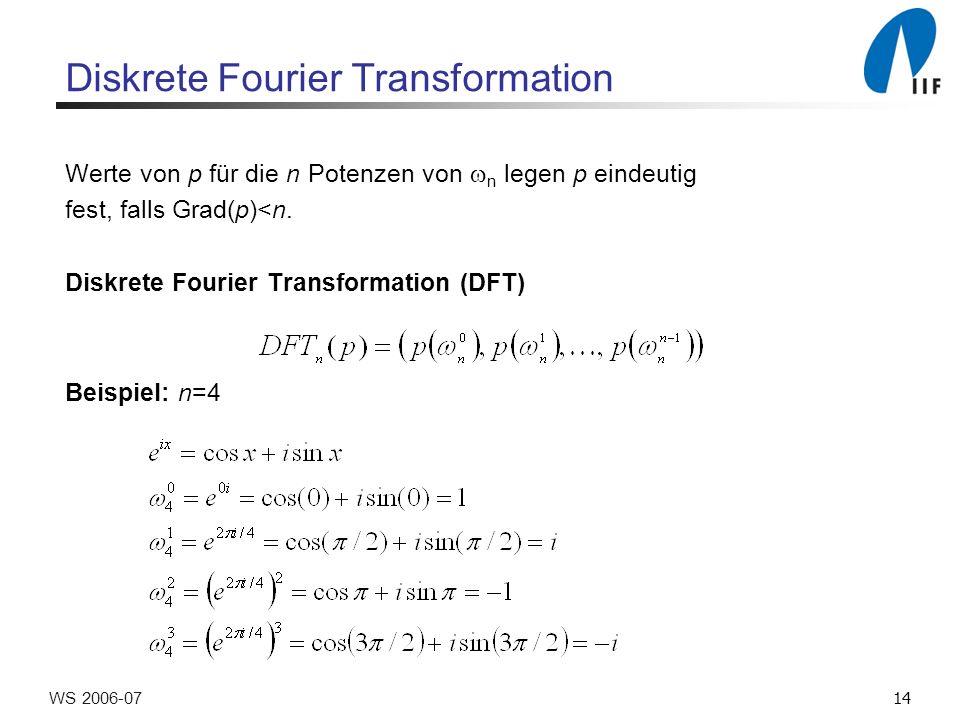 14WS 2006-07 Diskrete Fourier Transformation Werte von p für die n Potenzen von n legen p eindeutig fest, falls Grad(p)<n.