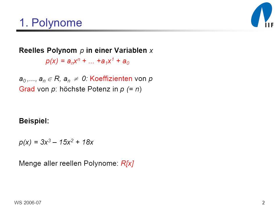 23WS 2006-07 Berechnung von DFT n Einfachster Fall: n = 1 (Grad(p) = n –1 = 0) DFT 1 (p) = a 0 Sonst : Divide: Teile p in p 0 und p 1 auf Conquer: Berechne DFT n/2 (p 0 ) und DFT n/2 (p 1 ) rekursiv Merge: Berechne für k = 0,..., n –1: DFT n (p) k =