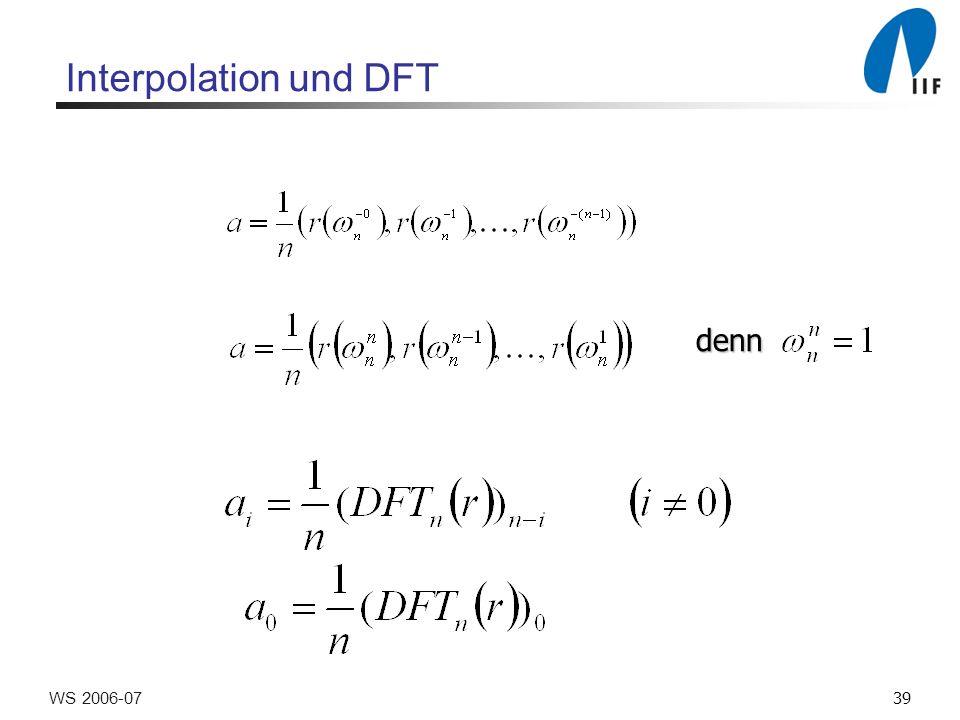 39WS 2006-07 Interpolation und DFT denn