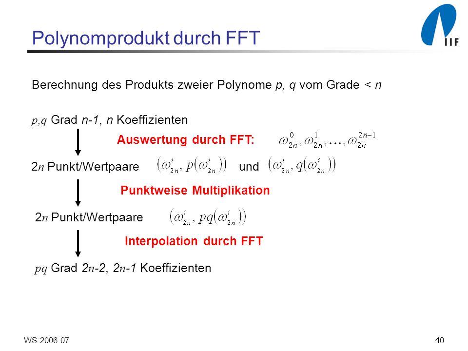 40WS 2006-07 Polynomprodukt durch FFT Berechnung des Produkts zweier Polynome p, q vom Grade < n p,q Grad n-1, n Koeffizienten Auswertung durch FFT: 2 n Punkt/Wertpaare und Punktweise Multiplikation 2 n Punkt/Wertpaare Interpolation durch FFT pq Grad 2 n -2, 2 n -1 Koeffizienten