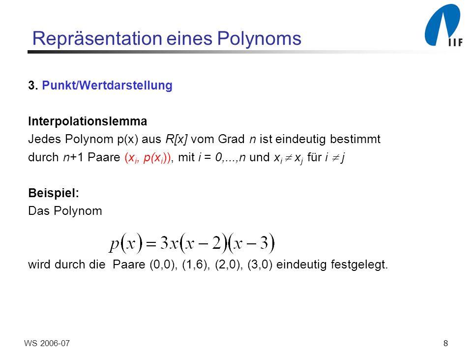 29WS 2006-07 Polynomprodukt Berechnung des Produkts zweier Polynome p, q vom Grade < n p,q Grad n-1, n Koeffizienten Auswertung durch FFT: 2 n Punkt/Wertpaare und Punktweise Multiplikation 2 n Punkt/Wertpaare Interpolation pq Grad 2 n -2, 2 n -1 Koeffizienten