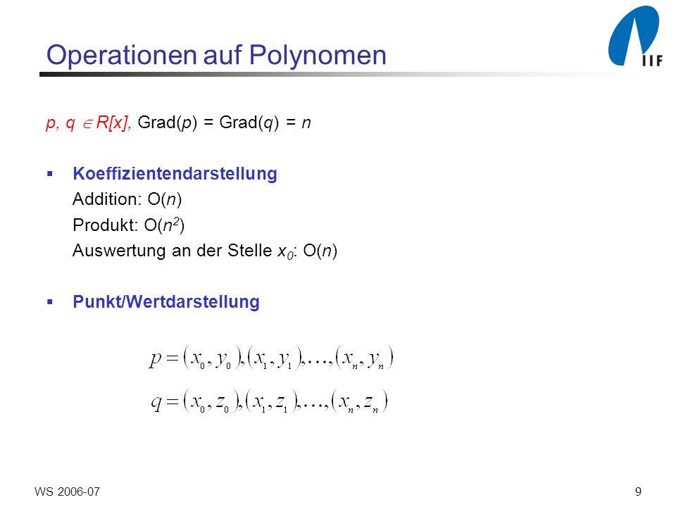 10WS 2006-07 Operationen auf Polynomen Addition: Zeit: O(n) Produkt: (Voraussetzung: n Grad(pq)) Zeit: O(n) Auswerten an der Stelle x´: ?.